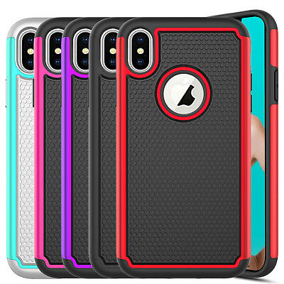 For iPhone XS XS Max XR Shockproof Hard Case Cover Glass Screen Protector