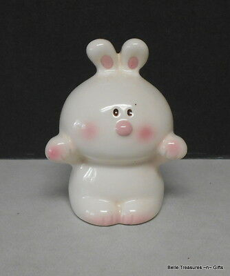 Small White Bunny Rabbit Coin Bank with Stopper