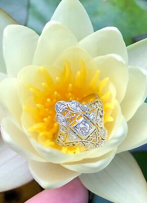 14ct white gold and diamond Art Deco shield ring with filigree-antique/vintage