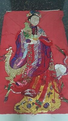 """Antique Chinese Qing Dynasty Hand Embroidered Silk Size 53""""x32 cm135x82 Panel"""
