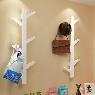 Creative Tree Style Wall Mounted Hanger Coat Hat Rack Hook Solid Home Art Decor