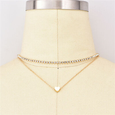 Chic Love Heart Double Layers Necklace Clavicle Chain for Lady Birthday Gifts N7