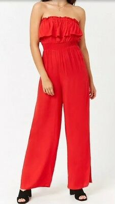 88e5a0736afa Forever 21 Flounce Ruffle Strapless Wide Leg Jumpsuit One Piece Red L NEW
