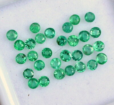 Natural Emerald Round Cut 2 mm Lot 24 Pcs 0.96 Cts Untreated Loose Gemstones
