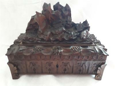 Nice Vintage Wooden box Black Forest? Restoration project Working lock and key.