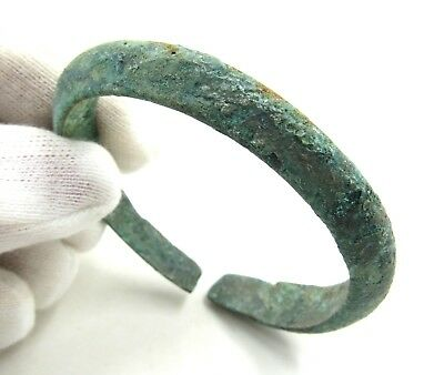 Authentic Medieval Viking Bronze Decorated Bracelet - Wearable - G345