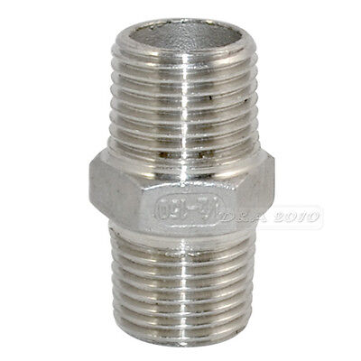 """1/2"""" Male x Male Hex Nipple Stainless Steel 304 Threaded Pipe Fitting"""