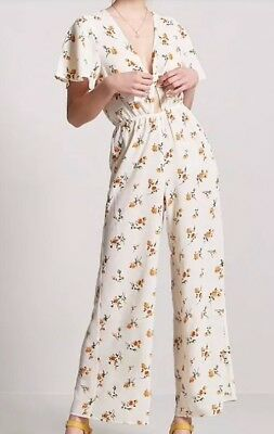 725931086c65 FOREVER 21 CREPE V Neck Yellow Floral Jumpsuit One Piece Ivory M NEW ...