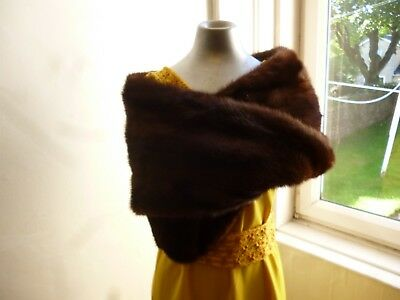 Beautiful Original Vintage 1950s 60s Brown Real Fur Stole Wrap Glamour Party