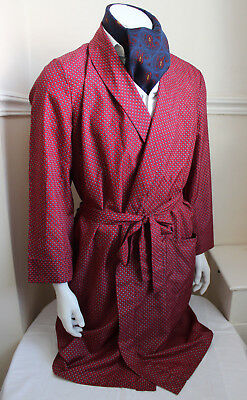 vintage Mister red paisley silky dressing gown smoking jacket 60s dandy mens M