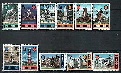 BARBADOS - 1970 Local Buildings Monuments etc Part Set to 25c 11 Stamps MNH