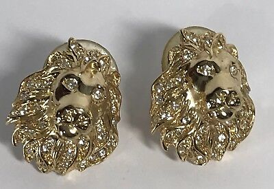 Vintage Signed MGMG Rhinestone LION HEAD With Mane Pierced Earrings