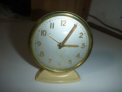 JAZ desk CLOCK HORLOGE VOYAGE TABLE vintage ancien 74mm made in france alarm old