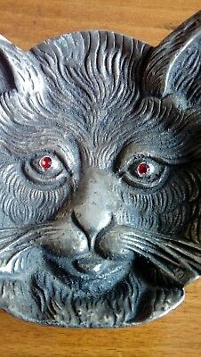 Antique CAT FACE silverplate PinTray, Trinket Tray, Paperweight