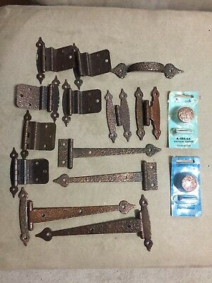 MIXED LOT of VINTAGE HAMMERED COPPER STRAP HINGES, KNOBS, 3/8 OFFSET HINGES