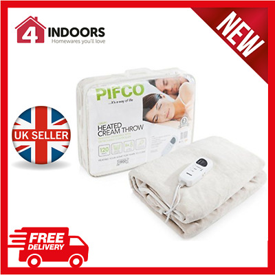 Pifco PE151 Soft Fleece Heated Throw and Over Blanket In Cream - Brand New