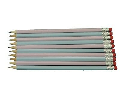 10 Baby Pink - Baby Blue Mix Personalised Hb Pencils In Gold Foil Free Uk Post