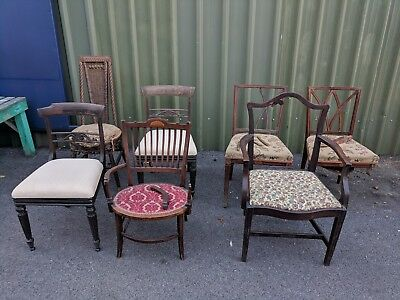 Job Lot of Antique Victorian William IV Edwardian Chairs (Spares or Repair )