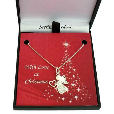 Sterling Silver Angel Necklace in Christmas Gift Box. Sizes for Women & Girls.