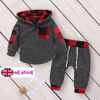 UK Baby Girls Boys Outfits 2PCS Hoodies+Pants Set Winter Fall Clothes Tracksuit