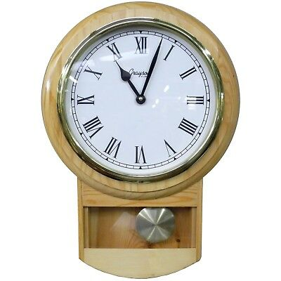 Classy 315mm (13 Inch) Wooden Wall Clock with Pendulum - Quartz Battery Movement