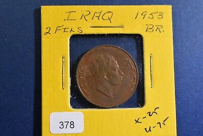 1953 Iraq 2 Fils Bronze Coin KM110 in Exceptional Condition!