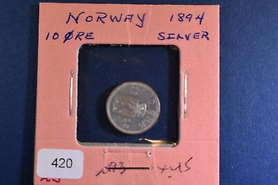 1894 Norway 10 Ore Silver Coin KM350.  Awesome Condition for Hard Date!