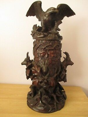 Antique Large Black Forest Eagle Chamois Humidor Tobacco Jar Swiss Wood Carving