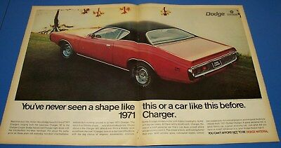 1971 Dodge Charger ~ 2 Page Original Print Ad ~ Car Auto