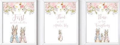 3 Personalised Peter Rabbit name baby child nursery print picture wall decor art