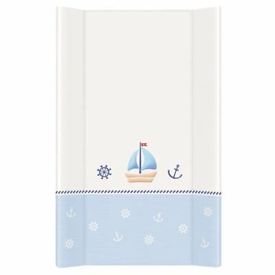 BABY HARD BASE CHANGING MAT UNIT WATERPROOF WITH RAISED EDGES 70x50cm - NAUTICAL