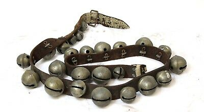 Antique 24 Graduated Brass Sleigh Bells on 4' Leather Belt 48""