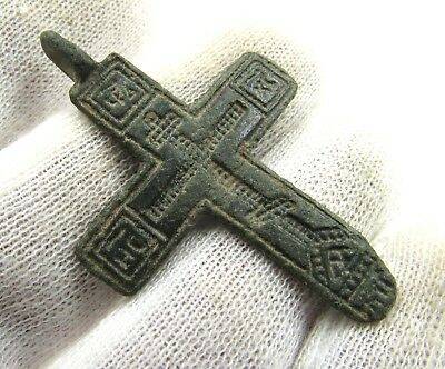 Authentic Late Medieval Bronze Cross Pendant - Wearable - G583