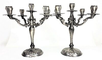 Pair Of Chandeliers Of 5 Lights. Punched Silver. Spain. Twentieth Century