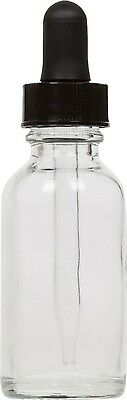 6 Pack Clear Glass Boston Round Bottle w/ Black Glass Dropper 1 oz