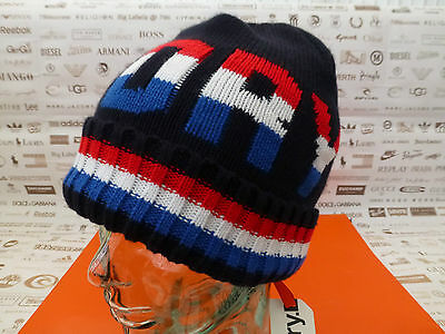 dc30f446ff2e SUPERDRY Fold-Up Beanie Men's Bright TRI LOGO Retro Hat Navy Ribbed Cap BNWT
