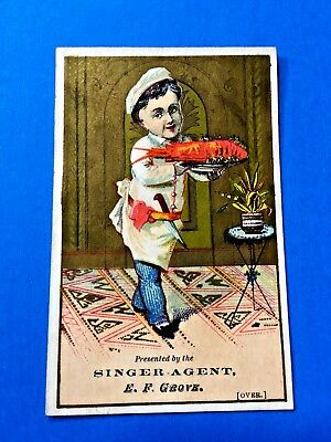 """Singer Sewing Mnfg Co.  """"Agent E.F. Grove"""" York, Pa. Trade Card"""