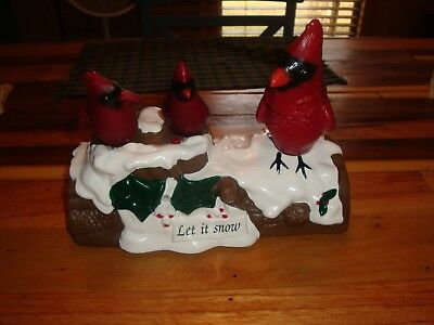 Gemmy Trio Of Red Cardinals Singing Chirping-Xmas Let It Snow Motion Activated