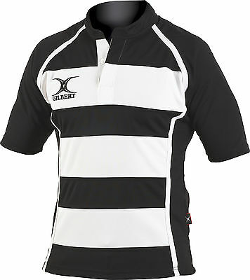 Clearance Line New Gilbert Rugby Xact Shirt Black/ White Hoops- Various Sizes