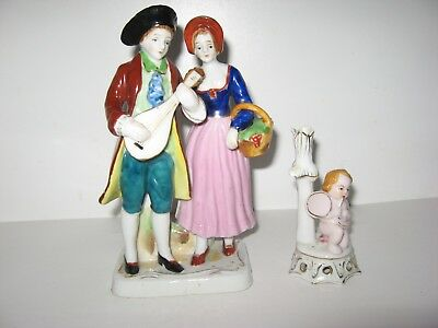 2 FIGURINES A MAN & WOMAN Couple Colonial + CHERUB/ANGEL  Occupied Japan