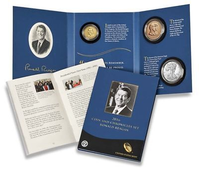 (3) 2016 Ronald Reagan Coin & Chronicle Sets. Mint Sealed. *NO RESERVE AUCTION*