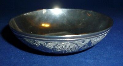 Antique Persian Silver Bowl with Coin Inlaid to Centre