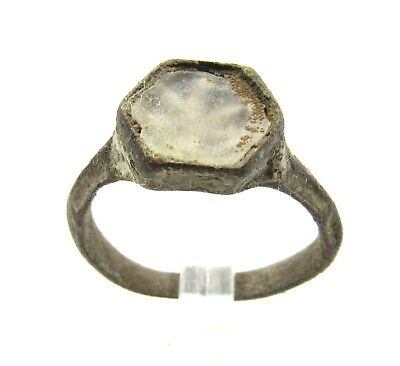 Authentic Medieval Bronze Tudor Era Ring W/ Glass  - Wearable  - G603