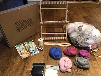 Funem Studio Weaving Loom With Stand And  Wool/Roving/Pompom Maker Bundle