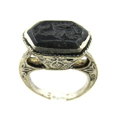 Authentic Post Medieval Silver Ring W/ Intaglio Seated Warrior - G608