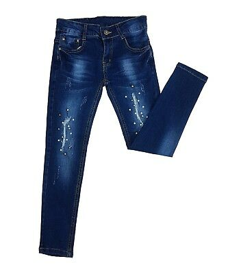 Girls' Slim Fit Pearls Jeans Blue Denim Washed Ripped  Pants Trousers Age 4-14y