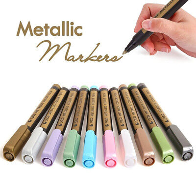 10-Pack Assorted Metallic Paint Markers Rock Painting Medium Point 10 Colors RAH