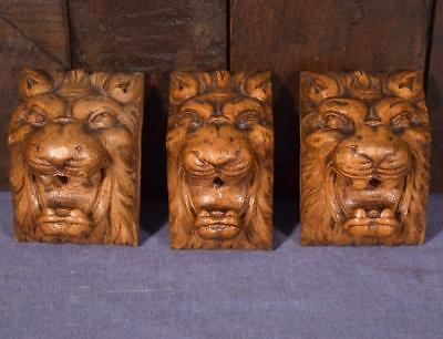 3 French Antique Hand Carved Walnut Wood Trim Pieces with Lions