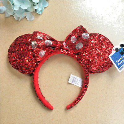 Disney Parks Minnie Mouse Ears Red Sequin Headband Bow Christmas Holiday