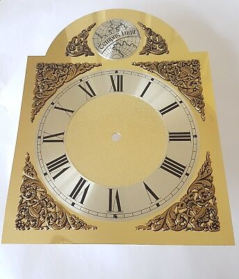 Arch Clock Dial 250 x 330mm Aluminium with Polished Brass Finish Silver Chapter